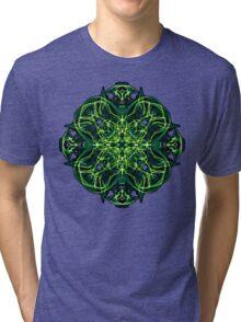 Energetic Geometry -  Green Celtic Cross & Clover Sacred Geometry Mandala Abstract Tri-blend T-Shirt