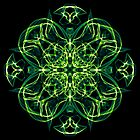 Energetic Geometry -  Green Celtic Cross & Clover Sacred Geometry Mandala Abstract by Leah McNeir
