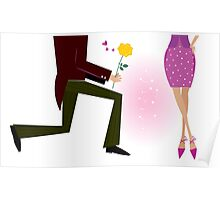 Valentine couple: man on knee is giving woman rose. Man is giving woman gift - yellow rose. Vector Illustration in retro style Poster