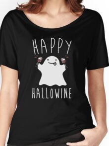 Happy Hallowine - Funny Ghost Women's Relaxed Fit T-Shirt
