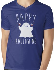 Happy Hallowine - Funny Ghost Mens V-Neck T-Shirt