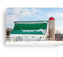 Snowy Barn and Silo Canvas Print