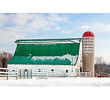 Snowy Barn and Silo Photographic Print