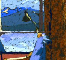 Window View Through The Door. Pastel Painting Sticker