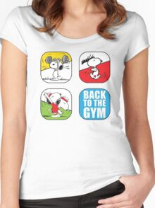 snoopy back to gym Women's Fitted Scoop T-Shirt