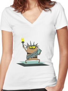 cat of liberty Women's Fitted V-Neck T-Shirt