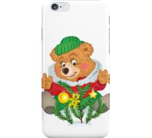 Bear dresses up Christmas tree branches iPhone Case/Skin