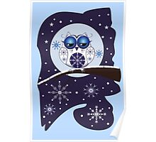 Cute Snowflakes & Snow Owl on a branch Poster