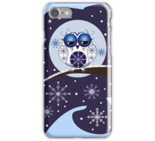 Cute Snowflakes & Snow Owl on a branch iPhone Case/Skin