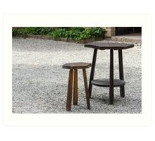 wooden table and stool Art Print