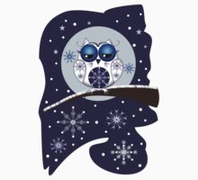 Cute Snow Owl on branch & decorative Snowflakes by walstraasart