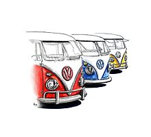 Type 2 Split Bus - Tres Amigos Signed Drawing Print Photographic Print