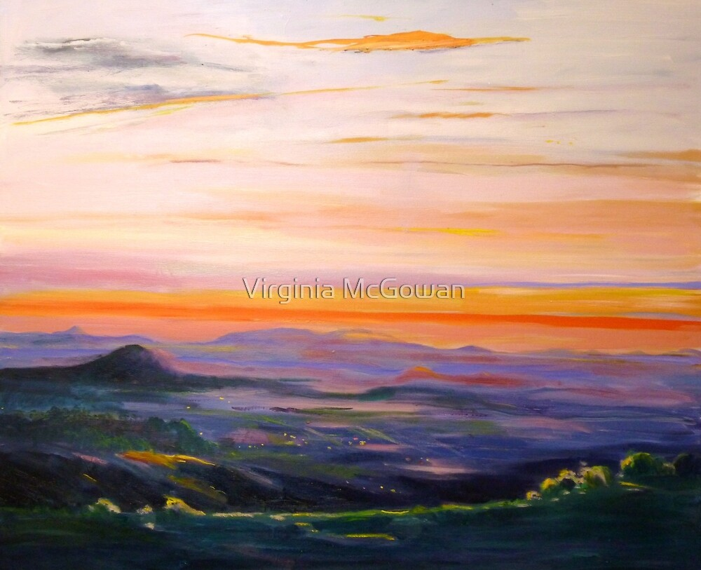 Tamborine Mountain Sunset Panorama by Virginia McGowan
