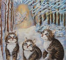 Fairy  Art - Kittens and the Snow Fairy by AlessandraArt