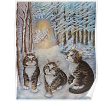 Fairy  Art - Kittens and the Snow Fairy Poster