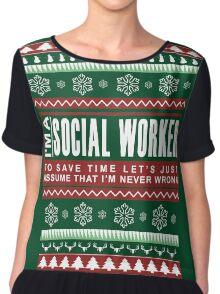 i am social worker christmas Chiffon Top