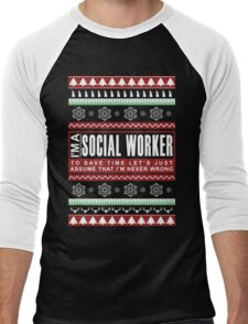 i am social worker christmas Men's Baseball ¾ T-Shirt