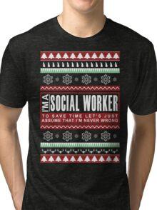i am social worker christmas Tri-blend T-Shirt