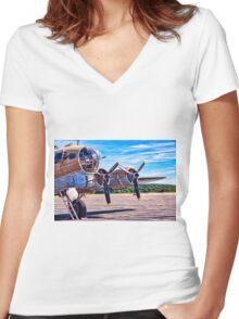 Flying History Women's Fitted V-Neck T-Shirt