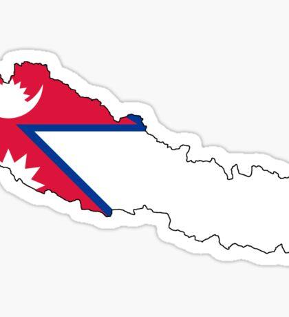 Nepal Flag Map Sticker