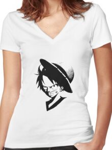 One piece - Monkey D. Luffy Women's Fitted V-Neck T-Shirt