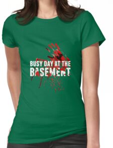 Busy Day At The Basement Bloody Creepy Halloween Party Design Womens Fitted T-Shirt
