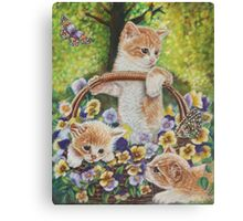 Cat Art - Cute Kittens in a Flowers Basket at Spring Time  Canvas Print