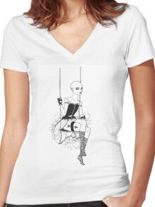 Archer on a Swing Women's Fitted V-Neck T-Shirt