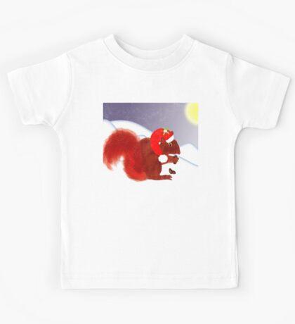 Cute Red Squirrel Snowy Christmas Scene Kids Tee