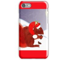 Cute Red Squirrel Snowy Christmas Scene iPhone Case/Skin