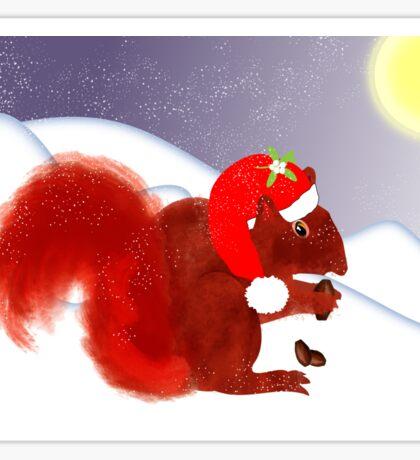 Cute Red Squirrel Snowy Christmas Scene Sticker