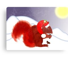 Cute Red Squirrel Snowy Christmas Scene Metal Print