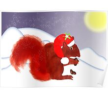 Cute Red Squirrel Snowy Christmas Scene Poster