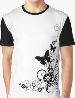black and white flower Graphic T-Shirt