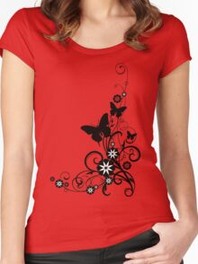 black and white flower Women's Fitted Scoop T-Shirt