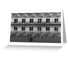 Reflections in the fishing port Greeting Card