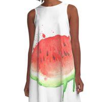 Watercolor Watermelon A-Line Dress