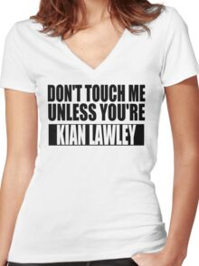 don't touch - KL Women's Fitted V-Neck T-Shirt