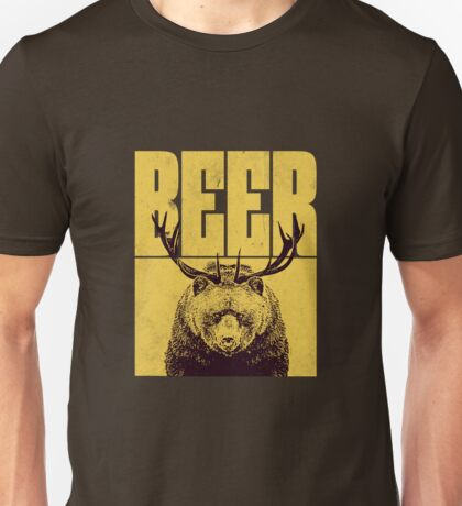 BEER Bear with Antlers Unisex T-Shirt