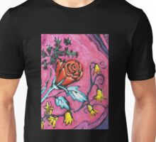 Roses- Lino Print and Pencil- Pink Unisex T-Shirt