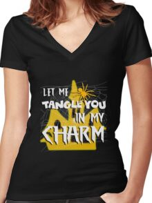 Let Me Tangle You In My Charm Orange Halloween Party Design Women's Fitted V-Neck T-Shirt