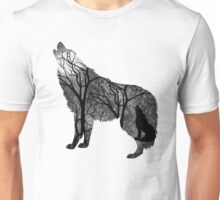 Howling Wild Wold in Black and White Unisex T-Shirt