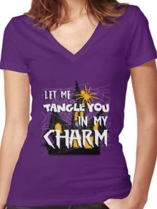 Let Me Tangle You In My Charm Halloween Party Design Women's Fitted V-Neck T-Shirt