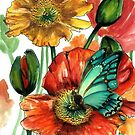 Iceland Poppies with Blue Butterfly by Cherie Roe Dirksen