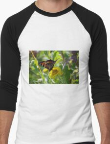 Small Tortoiseshell Butterfly at Gwithian Nature Reserve in Cornwall Men's Baseball ¾ T-Shirt