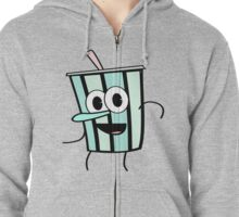 Funny Animinated Cool Drink Cup  Zipped Hoodie