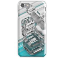Frosted glass cubes on a colorful background. 3d illustration iPhone Case/Skin
