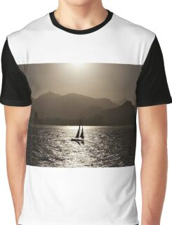 Sailing boat backlit in Rio de Janeiro Graphic T-Shirt
