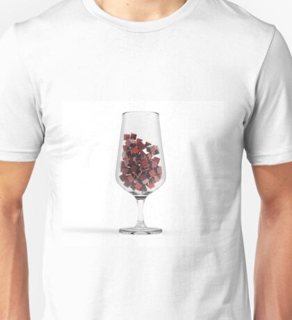 Glass With Red Coubs. 3D Illustration. Unisex T-Shirt