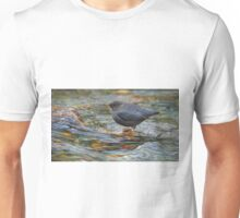 water ouzel, american dipper in stream Unisex T-Shirt